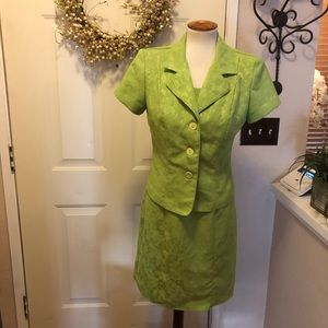 Dawn Joy Dresses - Vintage Dawn Joy Lime Green Dress / Jacket Set